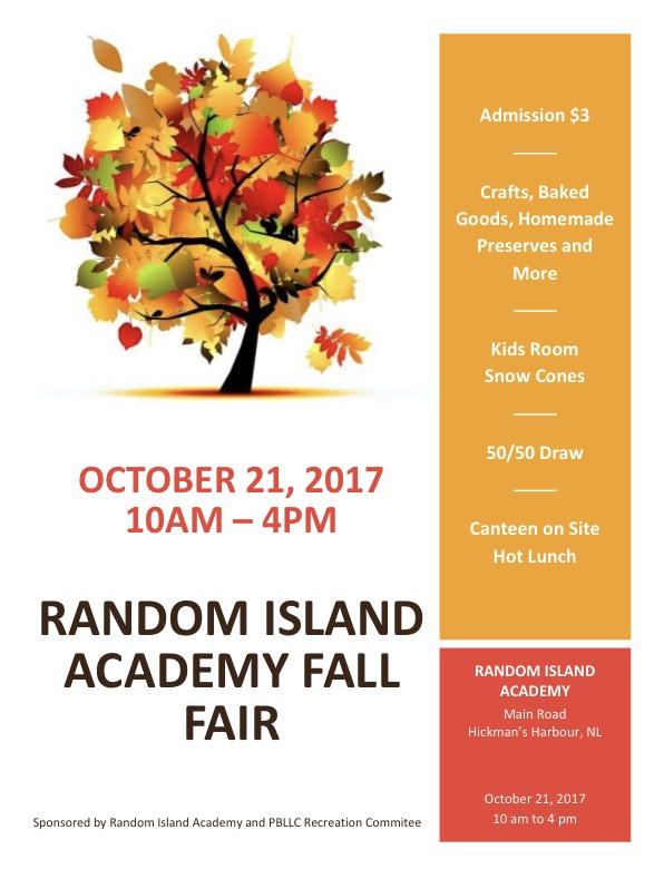 Random Island Academy Fall Fair Saturday October 21st